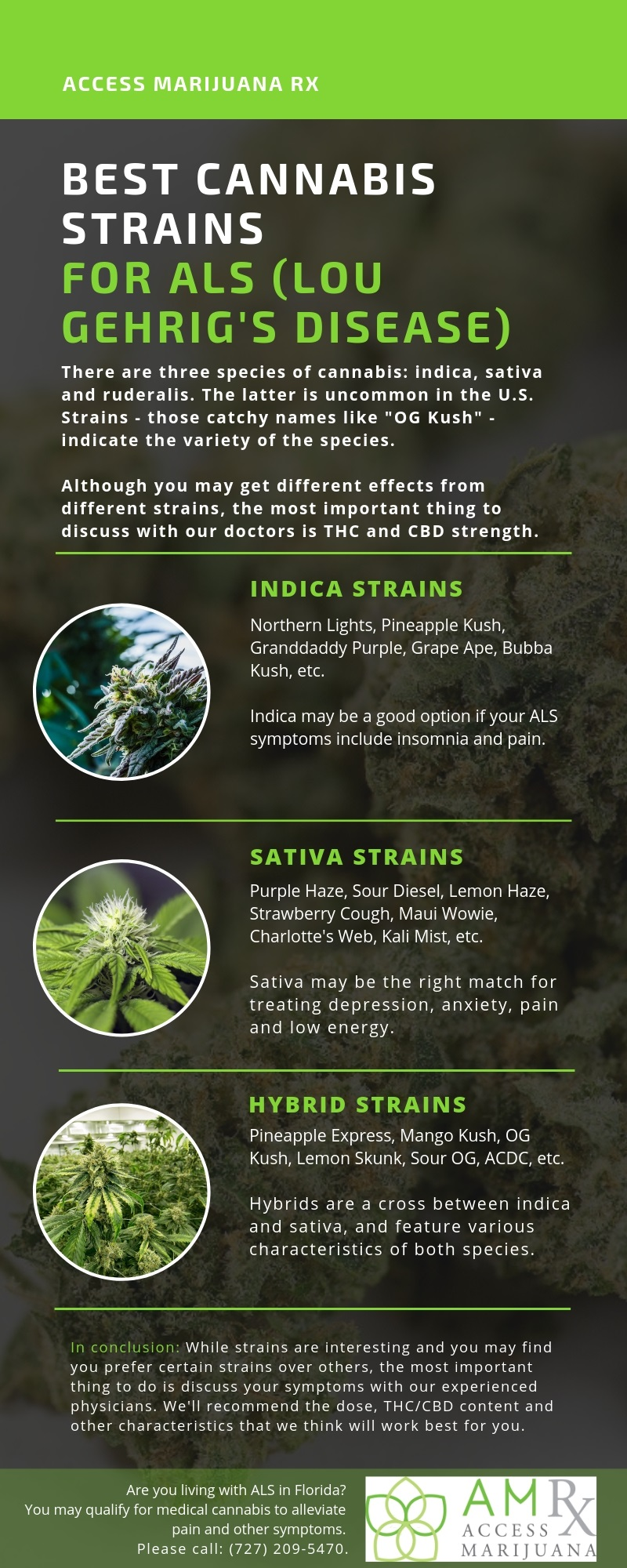 Infographic discussing the best strains for the symptoms of ALS